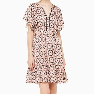 kate spade by the pool floral mosaic flutter dress